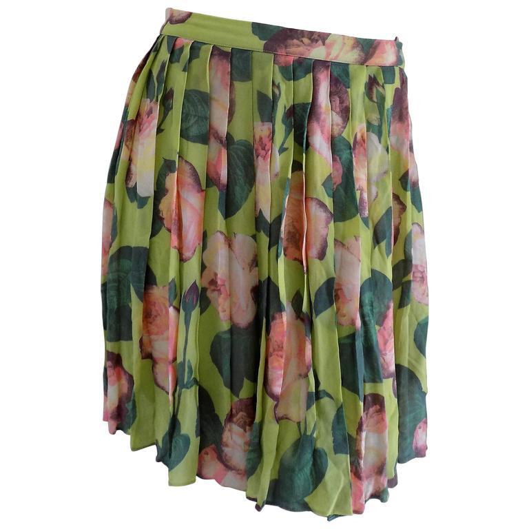 Blumarine Green Flowers Skirt