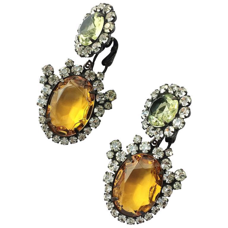 Kjl Citrine And Topaz Paste Drop Earrings 1960s For