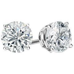 D Color Six Carat Each Faux  Diamond Cubic Zirconia Studs
