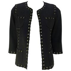 "St. John Couture Black Santana Knit ""Shoelace"" Trim Jacket"