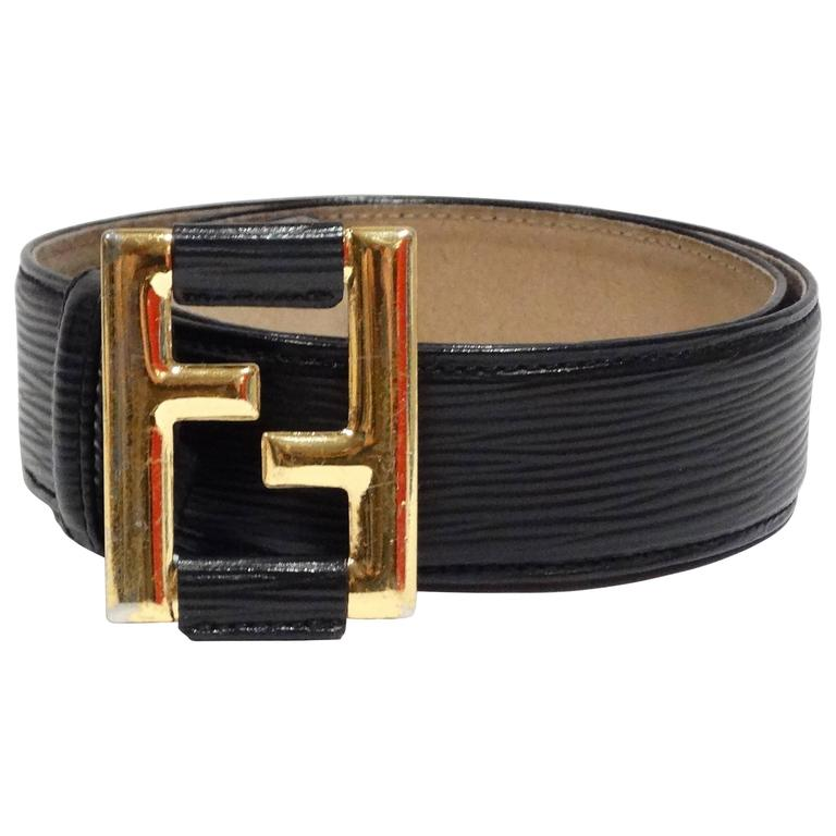 1990S Black Fendi Belt With Gold Logo Buckle