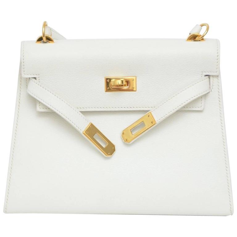 HERMES Super Rare White Mini Kelly  Gold Hardware 20 CM Veau Gulliver Leather For Sale