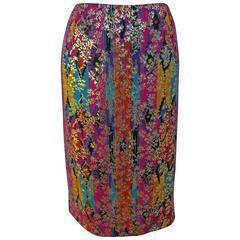 1970's Lanvin Multicolored Metallic Silk Pencil Skirt