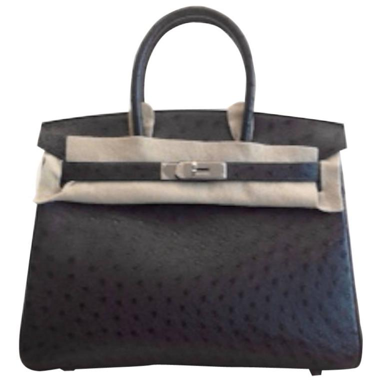 5f1a15abd279 Hermes 30 cm Birkin Bag in Midnight Blue Ostrich Leather at 1stdibs