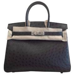 Hermes 30 cm Birkin Bag in Midnight Blue Ostrich Leather