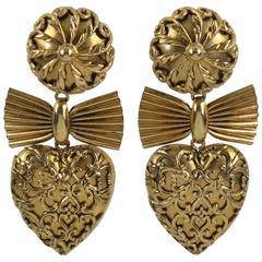 Zoe Coste Paris Signed Gilt Metal Baroque Heart Clip on Earrings circa 1980s