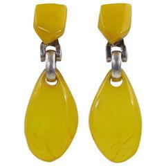 Dominique Denaive Paris Signed Citrus Resin Dangling Clip on Earrings