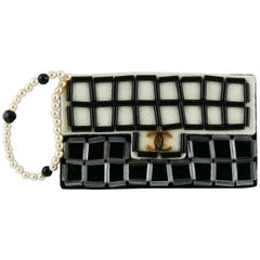 Chanel Large Iconic 2.55 Bag Felt Brooch With Faux Pearl Strap