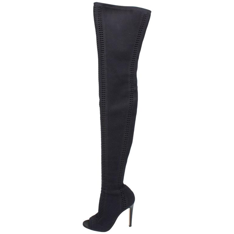 Gianvito Rossi Heeled Knit Thigh-high Boots - black 2016 1