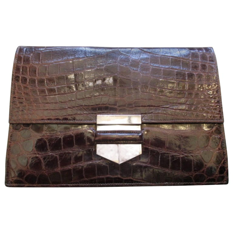 Rare Hermes Crocodile Pan Clutch with Sterling Silver Hardware For Sale
