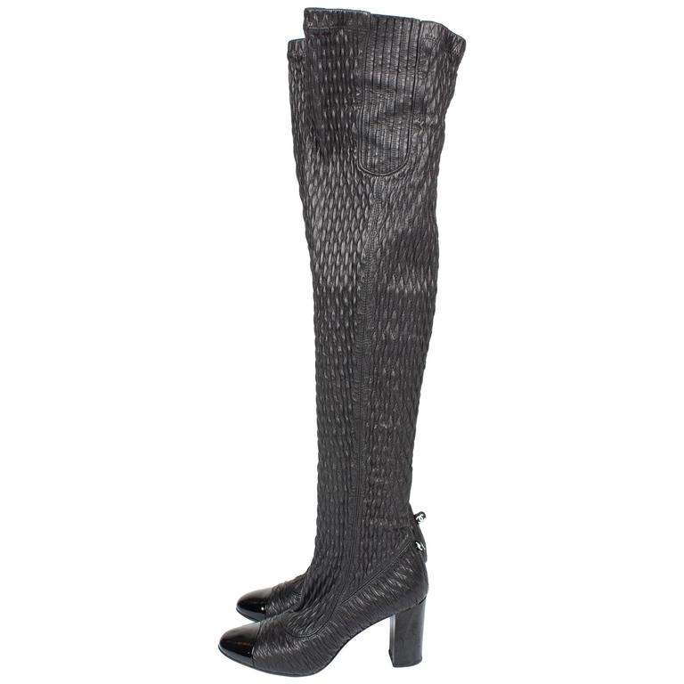 Chanel strech leather  Thigh-high Boots - black