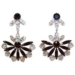 1970's Art Deco Inspired Black Rhinestone Dangle Earrings