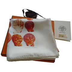 """Hermes """"Coquilles"""" by Robert Delpire Silk Twill Scarf NWT, Box and Ribbon"""