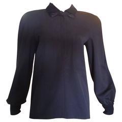 1980s Valentino Navy Blue Wool Top/Tunic