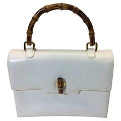 Gucci White Leather Handbag with Genuine Bamboo Strap