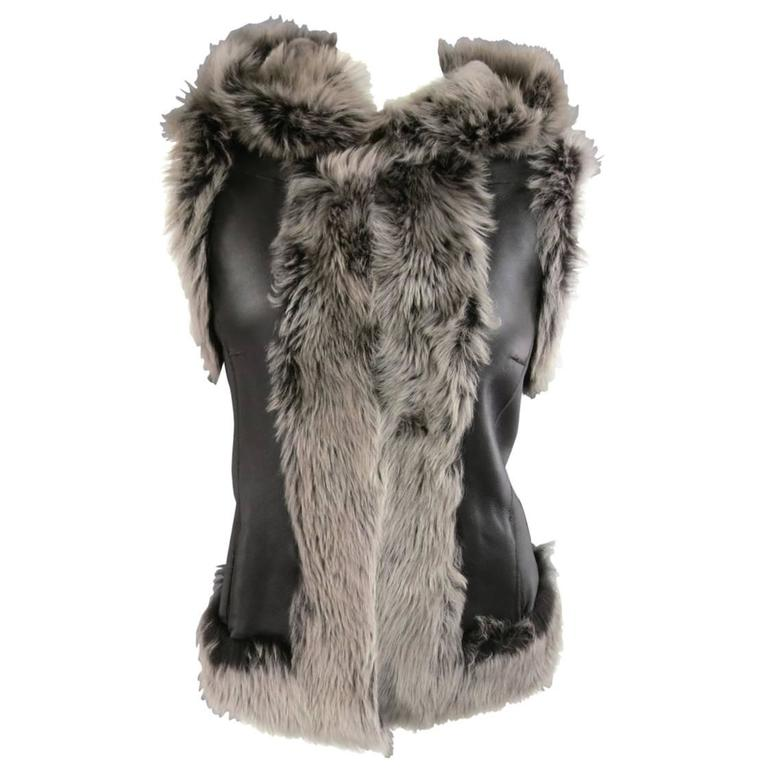 ROSENBERG & LENHART Size 8 Gray & Black Hooded Lamb Fur Shearling Leather Vest For Sale