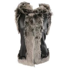 ROSENBERG & LENHART Size 8 Gray & Black Hooded Lamb Fur Shearling Leather Vest