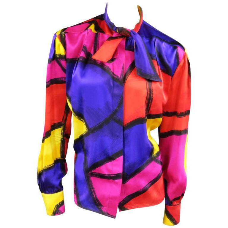THIERRY MUGLER Size 10 Multi-Color Abstract Brush Stroke Silk 1980's Blouse 1
