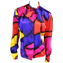 THIERRY MUGLER Size 10 Multi-Color Abstract Brush Stroke Silk 1980's Blouse