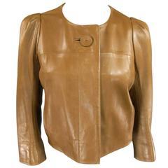 CHLOE Size 10 Cropped Tan Leather PLeated Back Jacket
