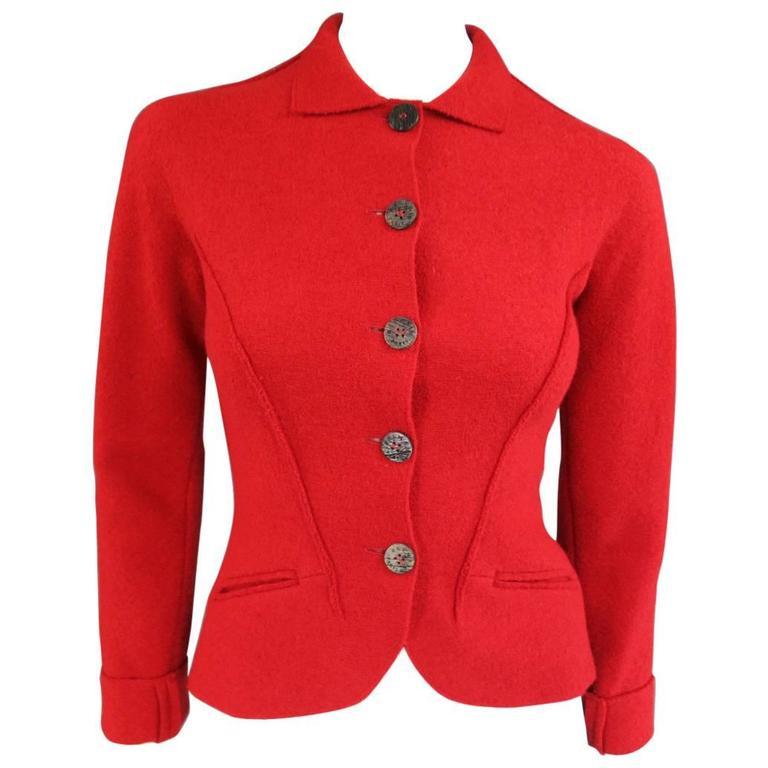 1990's Vintage BALMAIN Size 4 Red Wool Cardigan Jacket 1