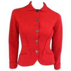 1990's Vintage BALMAIN Size 4 Red Wool Cardigan Jacket