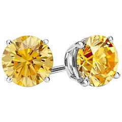 Intense Canary 12 Carat Each Faux Diamond Studs