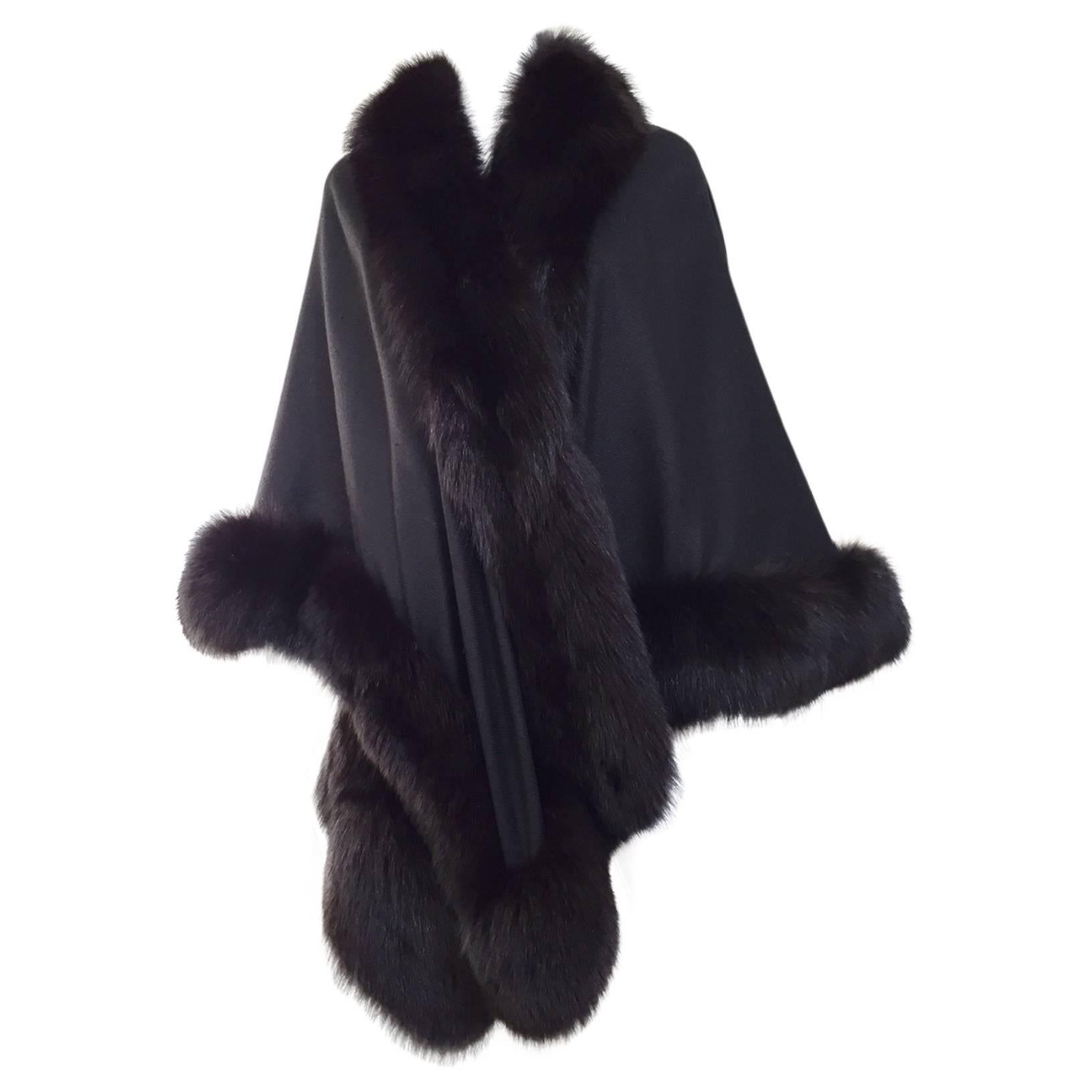 1980s Black Wool Shawl With Fox Trim