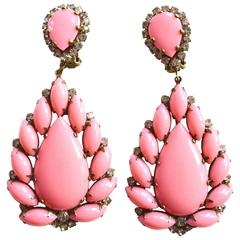 1960s Cotton Candy Pink KJL Earrings