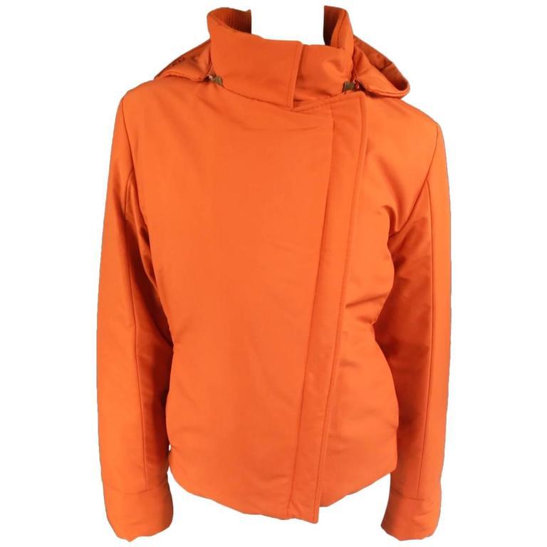 LORO PIANA Jacket - Size 12 Orange Nylon Padded Storm System Hood Ski Coat For Sale