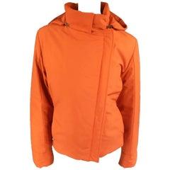 LORO PIANA Jacket - Size 12 Orange Nylon Padded Storm System Hood Ski Coat