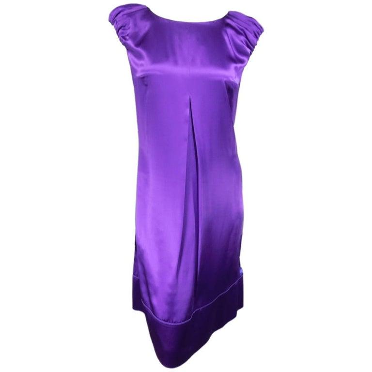 DOLCE & GABBANA Dress US 4 Purple Silk Satin A Line Short Puff Sleeve Cocktail For Sale