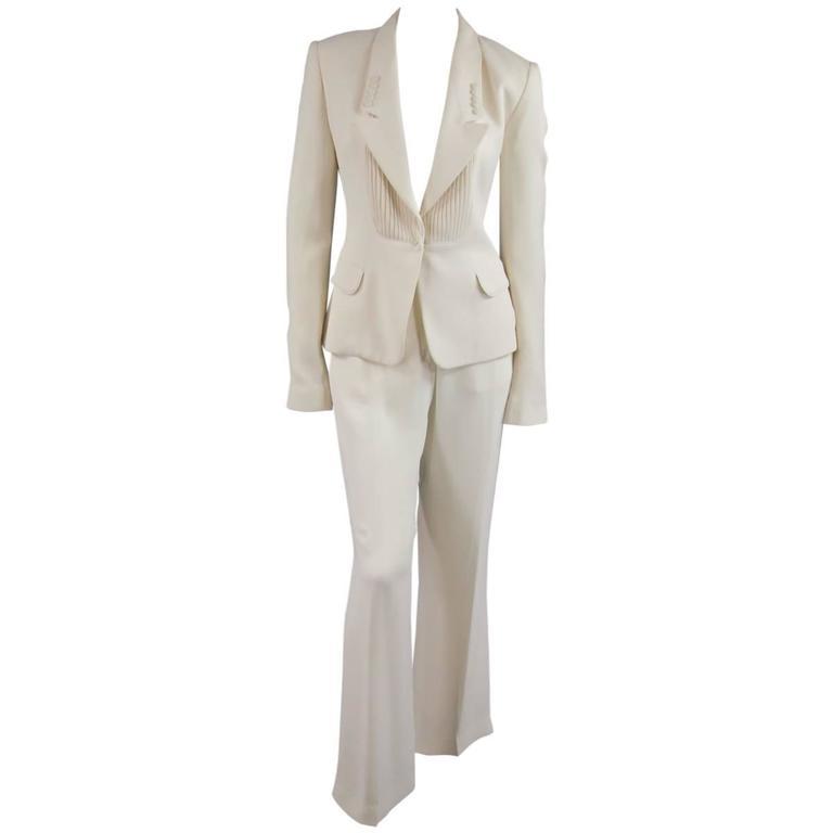 VIKTOR & ROLF Size 6 Off White Silk Tuxedo Style Pleated Bib Pants Suit 1