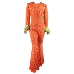 GIANNI VERSACE Size 6 Orange Floral Print Silk Collarless Ruffle Cuff Suit