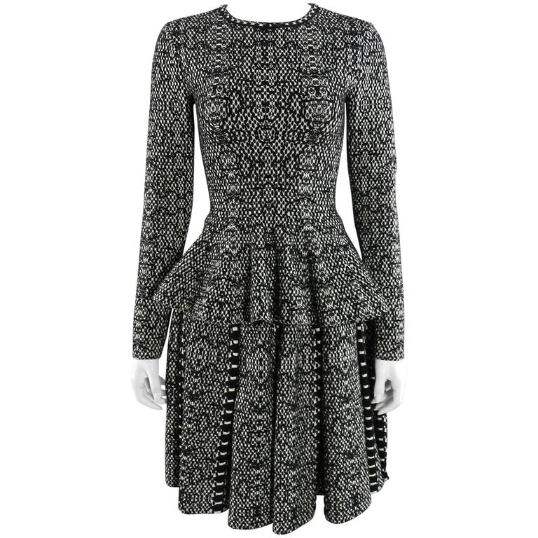 Alaia Black and White Knit Jersey Peplum Top and Flare Skirt Set For Sale