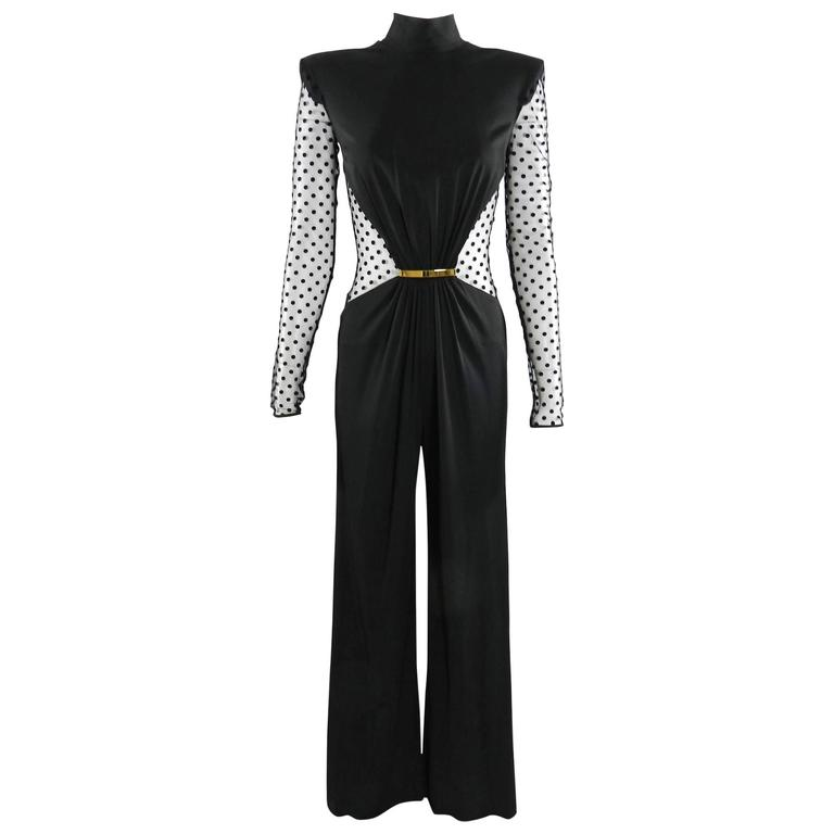 Balmain Pre-fall 2015 Black Polkadot Mesh Panel Jumpsuit 1