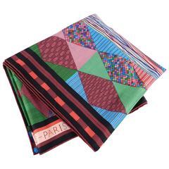 Hermes Patchwork Horse Cashmere silk 140cm shawl scarf