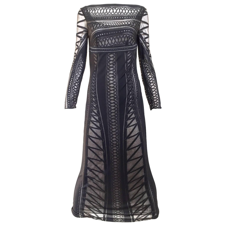 1990s Gianfranco Black Knit Illusion Dress