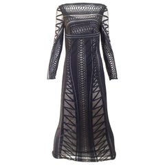 1990s Gianfranco Black Knit Illusion Dress