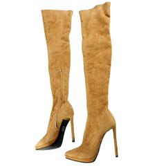 Emilio Pucci Fall 2013 Runway Tan Suede Over the Knee High Heel Boots