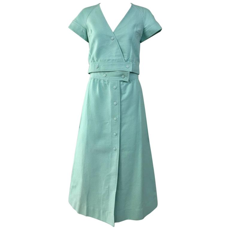 70s Courreges mint green cotton crop top and midi skirt set