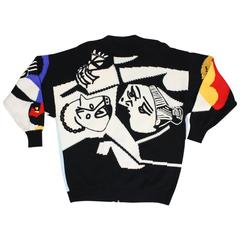 1980's Versace Intarsia Cubist Cardigan