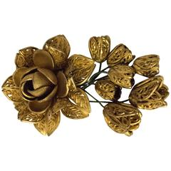 40s Flower Sweater Clip Vintage Plastic Painted Gold
