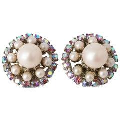 50s Kramer Pink Pearl Carnival Glass Crystal Earrings