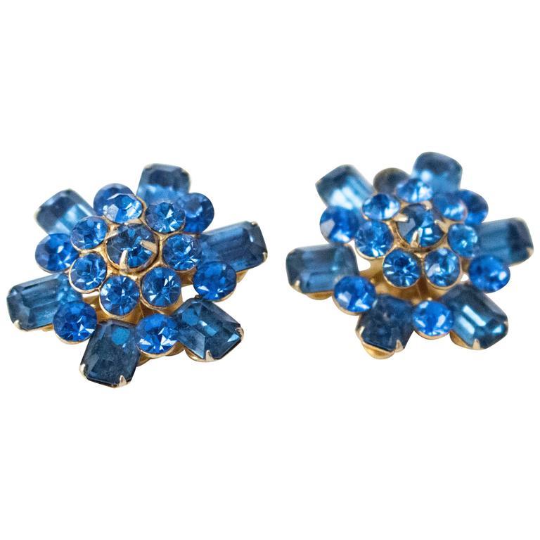 50s Coro Blue Gem Earrings For Sale