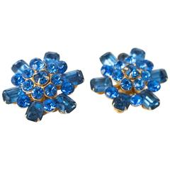 50s Coro Blue Gem Earrings