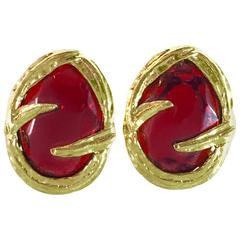 1980s Yves Saint Laurent Red Glass and Goldtone Clip Earrings