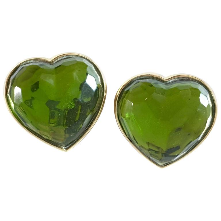 1980s Yves Saint Laurent Green Glass Heart Clip On Earrings For Sale