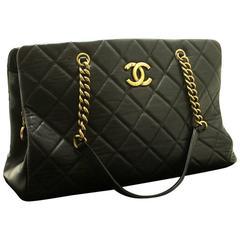 CHANEL Calfskin 2012 Antique Gold Chain Shoulder Bag Black Quilted