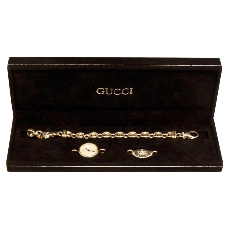 a41113667c7 1980s Gucci Sterling Silver Mother of Pearl Watch with Silver Gucci Charm  For Sale